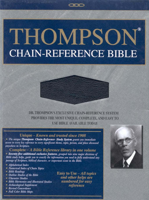 Bible KJV Thompson Chain Reference Black Bonded Leather Indexed