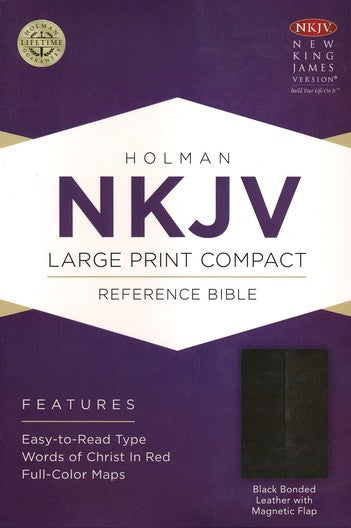 NKJV Large Print Compact Reference Bible Black Bonded Leather with Magnetic Flap