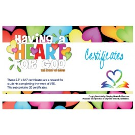 Having A Heart for God - Certificates