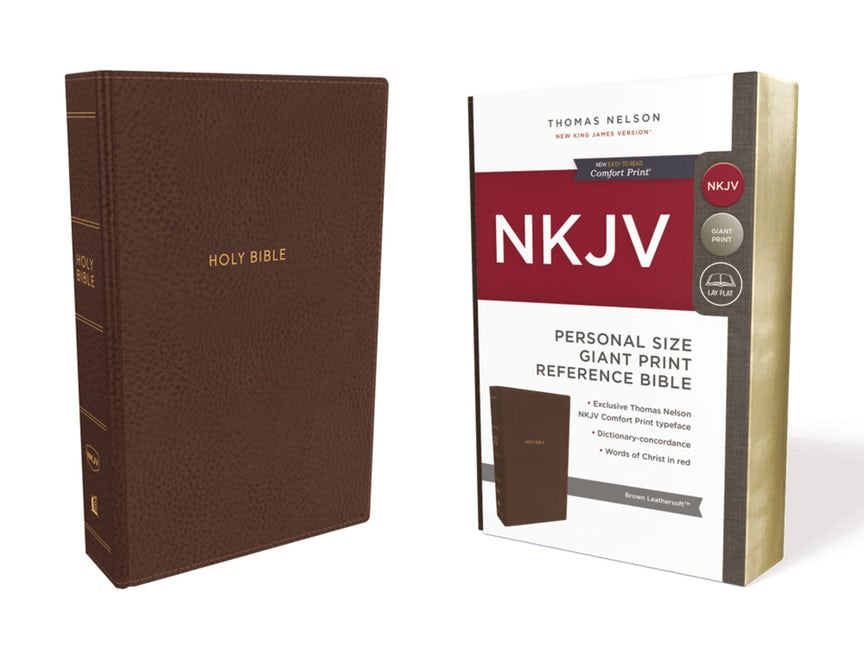 NKJV Personal Size Giant Print Reference Bible Brown Leathersoft