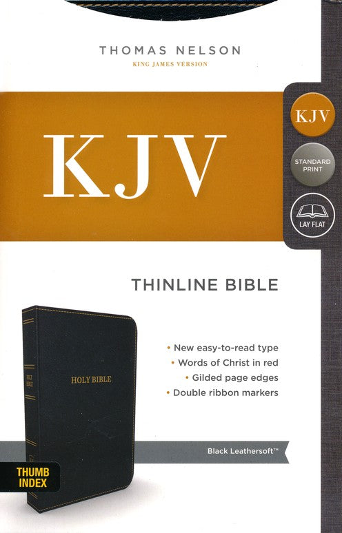 KJV Thinline Bible Black Leathersoft Indexed
