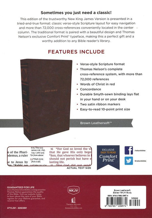 NKJV Classic Verse-by-Verse Center Column Reference Bible Brown Leathersoft