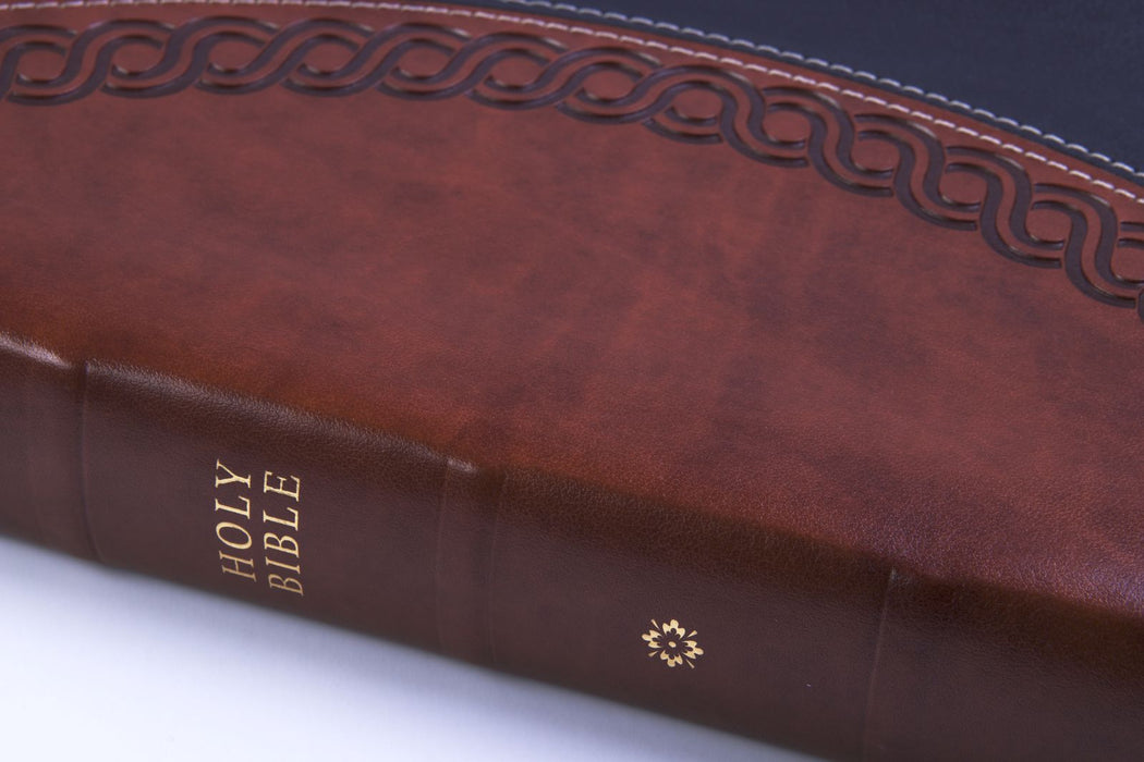 NKJV Deluxe Large Print Personal Size Reference Bible - Black/Brown LeatherTouch