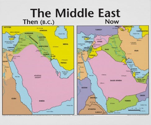 MIddle East Then and Now Wall Chart Laminated