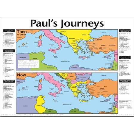 Paul's Journeys Then & Now Laminated