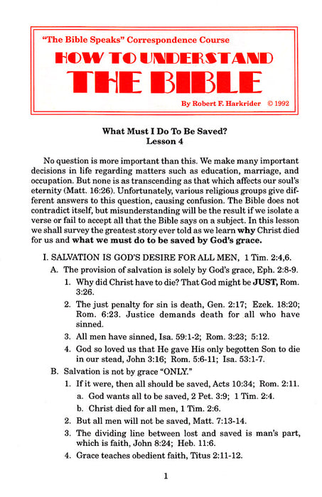 How to Understand the Bible Correspondence Course:  Lesson 4