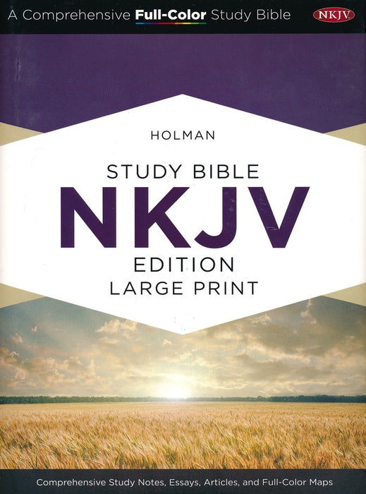 Holman NKJV Full-Color Large Print Study Bible Saddle Brown LeatherTouch, Indexed
