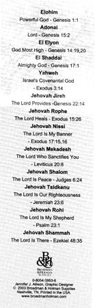 Bookmark Names of God-Package of 25