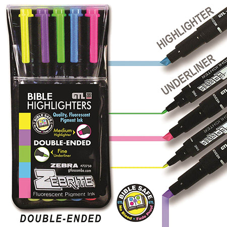 Zebrite Bible Highlighters, 5 Pack