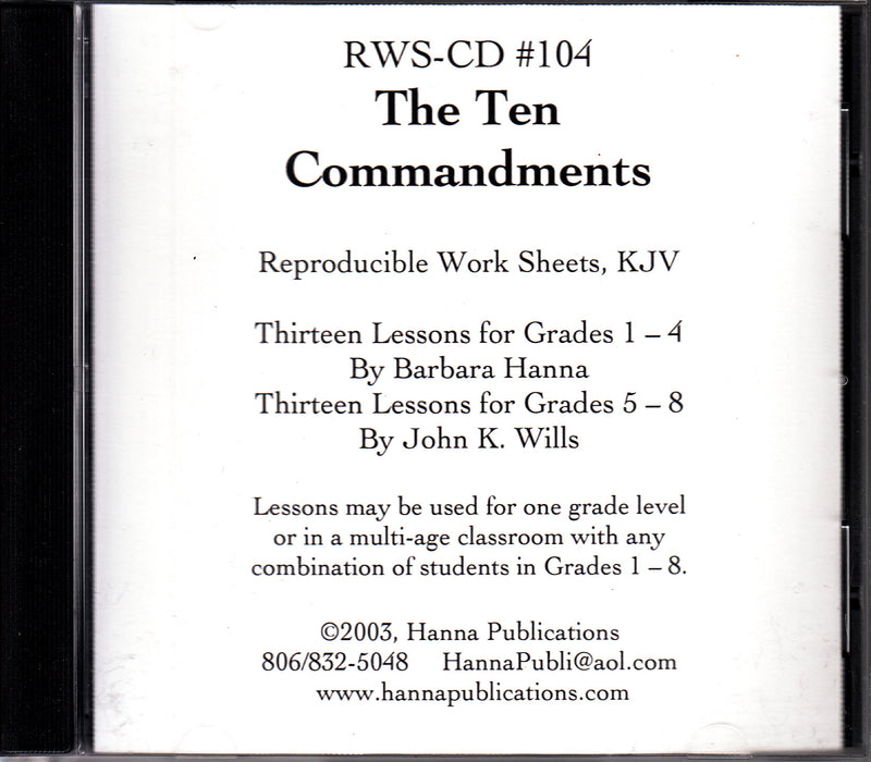 The Ten Commandments OT Bible Lessons CD