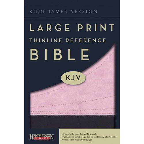 KJV Thinline Large Print Reference Bible - Chocolate/Pink