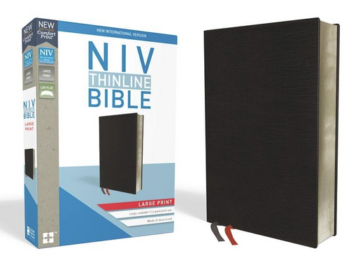 NIV Thinline Large Print Bible Black Bonded Leather