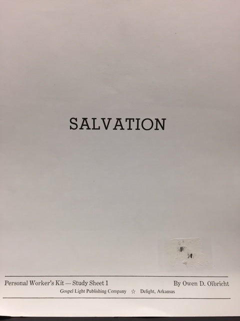 Salvation: Personal Worker's Kit - Study Sheet 1