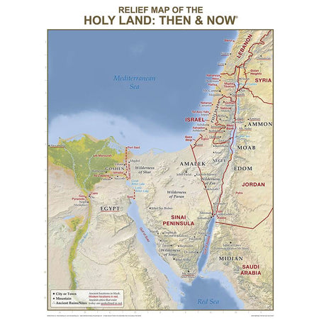 Holy Land Relief Map: Then and Now Wall Chart, Laminated