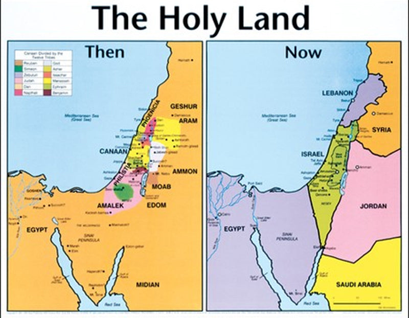 The Holy Land Then and Now Wall Chart, Laminated