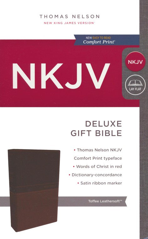 NKJV Deluxe Gift Bible Toffee LeatherSoft