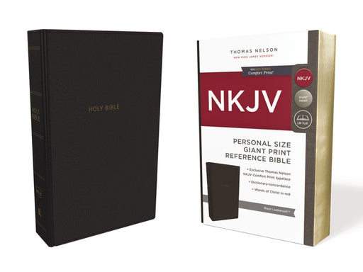 NKJV Personal Size Giant Print Reference Bible Black Leathersoft