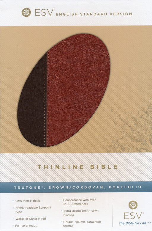 Bible ESV Thinline Trutone Brown/Cordovan