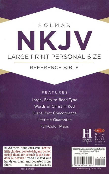 NKJV Large Print Personal Size Reference Bible Pink Leathersoft Indexed