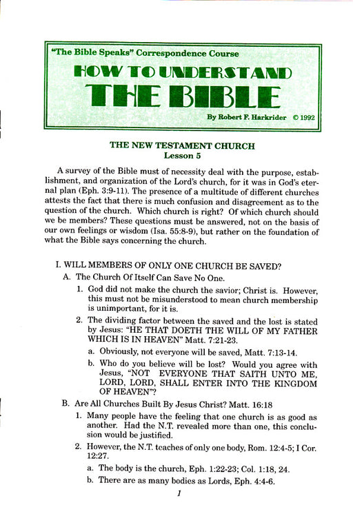 How to Understand the Bible Correspondence Course:  Lesson 5