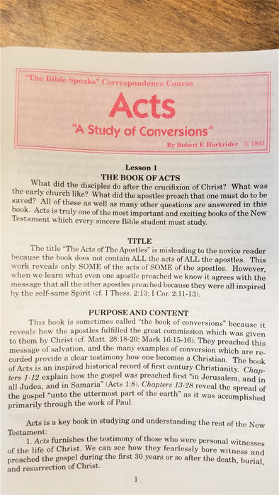 "Acts Correspondence Course "" A Study of Conversions"" Lesson 1"