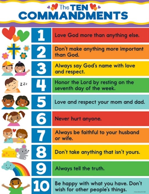 Ten Commandments for Kids Wall Chart