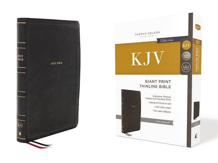 KJV Giant Print Thinline Bible, Black Leathersoft, Indexed