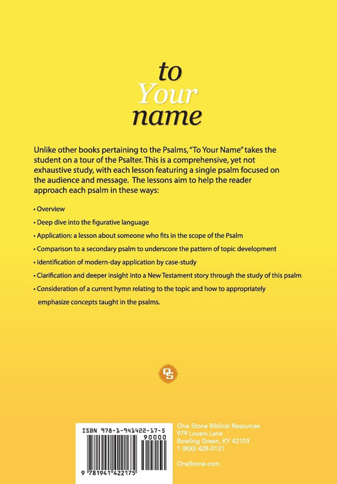 To Your Name: A Study of the Psalms Volume 1 - Downloadable Congregational Use PDF
