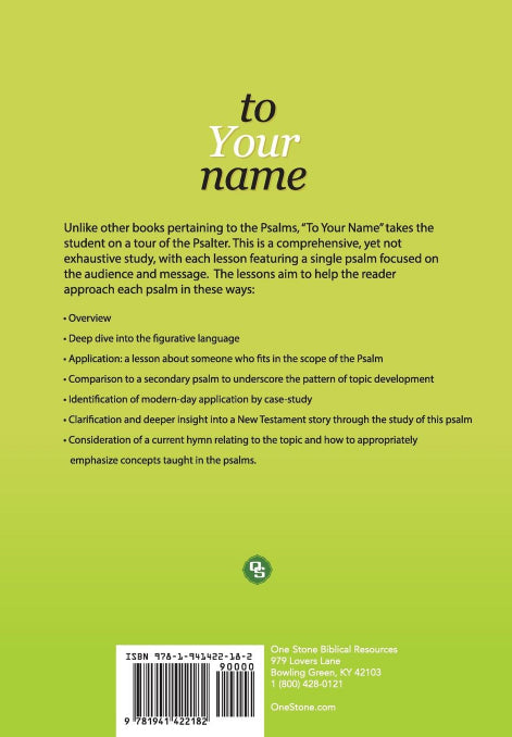To Your Name: A Study of the Psalms Volume 2 - Downloadable Congregational Use PDF
