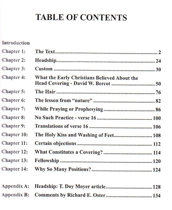Head Coverings Table of Contents