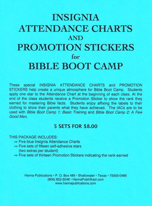 Bible Boot Camp Attendance Chart