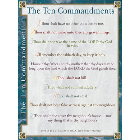 Ten Commandments KJV laminated