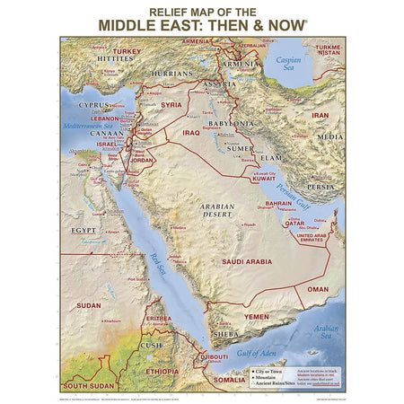 Middle East Relief Map Then & Now Wall Chart Laminated