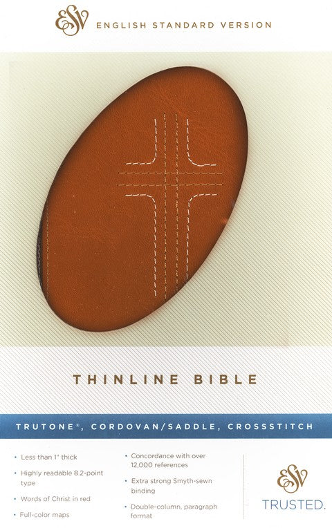 Bible ESV Thinline Trutone Cordovan/Saddle, CrossStitch