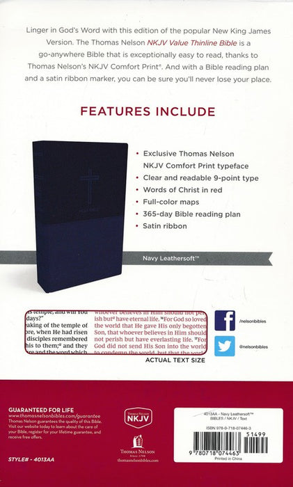 NKJV Value Thinline Bible Navy Leathersoft