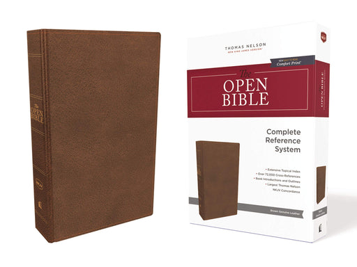NKJV Open Bible - Brown Genuine Leather