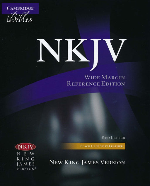 NKJV Wide Margin Reference Bible Black Calf Skin Leather