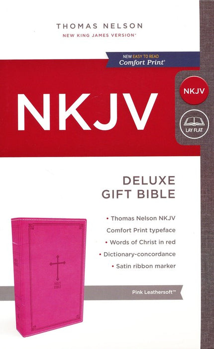NKJV Deluxe Gift Bible Pink LeatherSoft