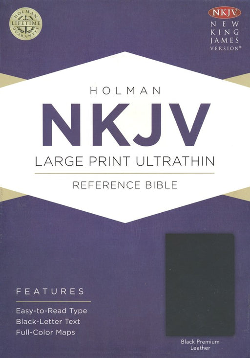 NKJV Ultrathin Large Print Premium Leather Bible, Black Indexed