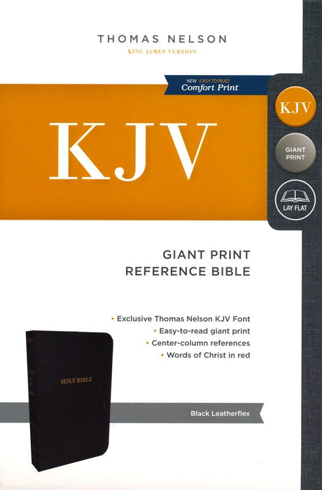 KJV Giant Print Center Column Reference Bible - Black Leatherflex