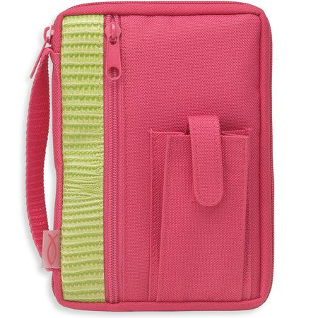 Bible Cover - Compact Canvas - Fuchsia Lime Trim