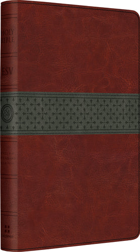 ESV Large Print Thinline Reference Bible Walnut/Slate Leathersoft