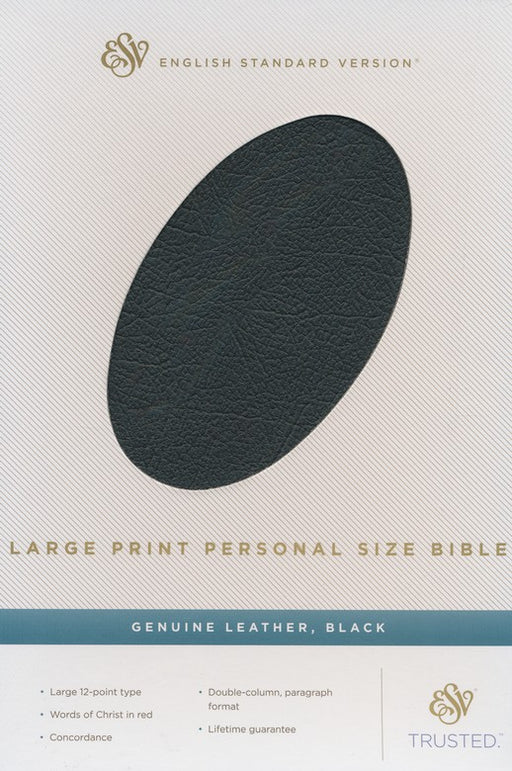 ESV Large Print Personal Size Bible Genuine Black Leather