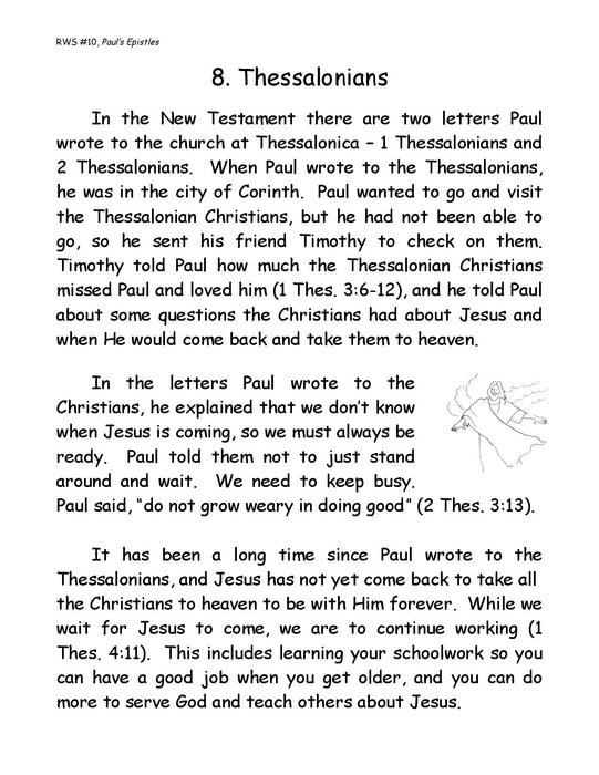 Paul's Epistles Bible Lessons Workbook