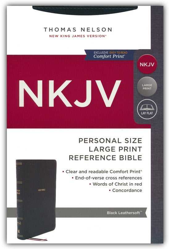 NKJV Personal Size Large Print Reference Bible, Black Leathersoft