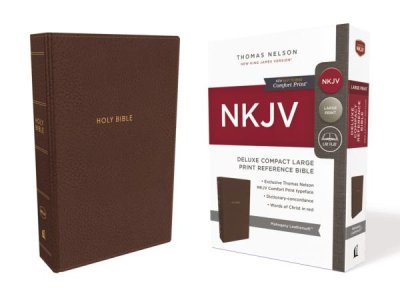 NKJV Deluxe Compact Large Print Reference Bible Mahogany Leathersoft