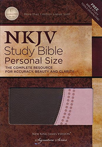 NKJV Study Bible Personal Size Pink/Brown Leathersoft