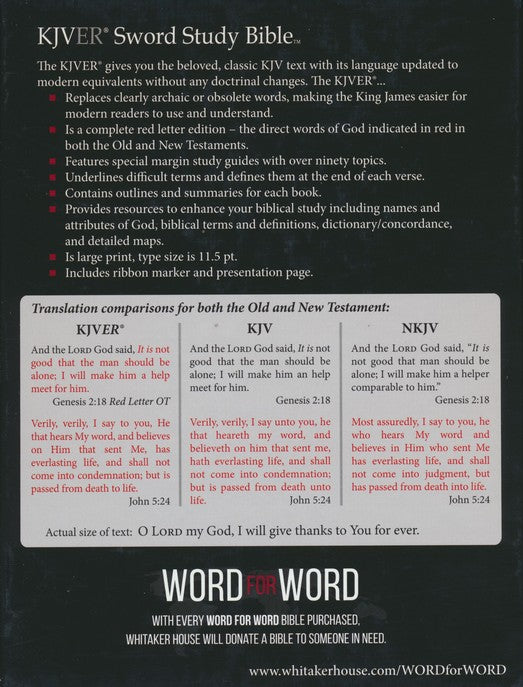 KJV Easy Reader Sword Study Bible Personal Size Large Print Black Ultrasoft, Indexed