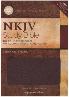 NKJV Study Bible Large Print Burgundy Bonded Leather