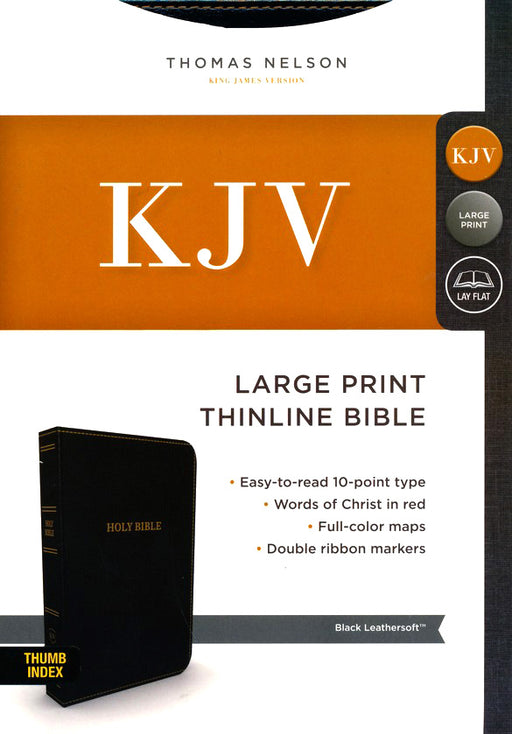KJV Large Print Thinline Bible Comfort Print Black Leathersoft Indexed